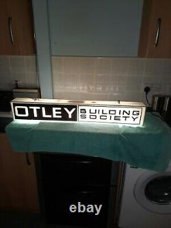 Vintage Double Face Otley Building Society 1970s Illuminated Shop Sign