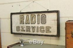 Vintage Double Face Publicité Radio Service Du Commerce Sign Hand Painted Bois 1930