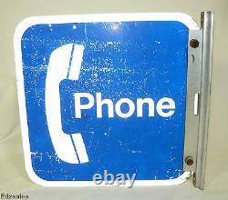 Vintage Double Sided Bracket Flanged Téléphone Sign Publicité Public Payphone