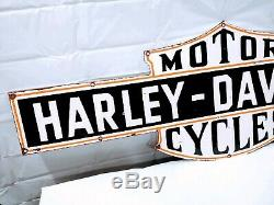 Vintage Double Sided Moto Harley Davidson Porcelain Détaillant