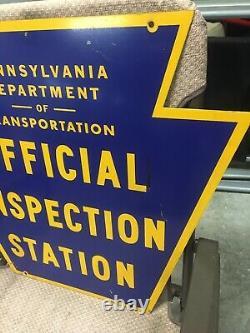 Vintage Double Sided Pa Dot Bureau D'inspection Officielle Panneau Pennsylvanie