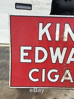 Vintage Double Sided Porcelaine King Edward Cigares Signe 70 X 46 Garage Bar Pub