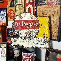 Vintage Dr Pepper 10-2-4 Double Sided Metal Soda Publicité Flange Signe
