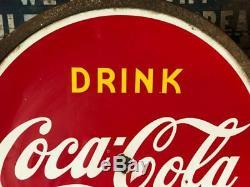 Vintage Drink1941 Coca Cola Lollipop Double Face Signe Publicitaire En Coke De Coca