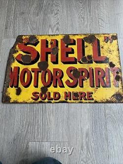 Vintage Enamel Sign Shell Motor Spirit Hanging Double Sided Motoring Souvenirs