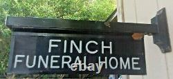 Vintage Finch Funeral Home Service Sign Lighted Double Sided Advertising Cuivre