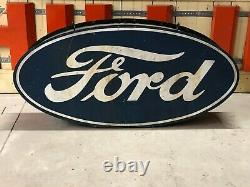Vintage Ford Oval Double Sided Sign Concessionnaire Concessionnaire Mancave Garage