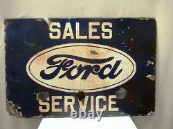 Vintage Ford Porcelain Enamel Sign Board Double Sided Sales & Service Automobil