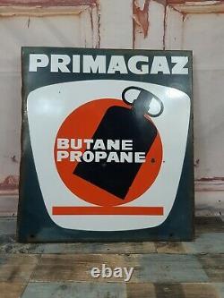 Vintage French Double Sided Enamel Primagaz Panneau Publicitaire Gas Petrol Station