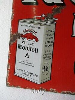 Vintage Gargoyle Vacuum Motor Car Oil Sign Board Porcelaine Émail Double Sided2