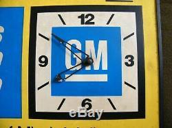 Vintage Gm Horloge Signe Bilaterale Enseigne Publicitaire Concessionnaire General Motors