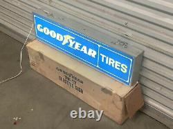 Vintage Goodyear Pneus Gas Service Station 36 Double Sided Lighted Sign Works