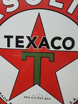 Vintage Grand Texaco 26 Double Face Porcelain Signe Fait 3-31