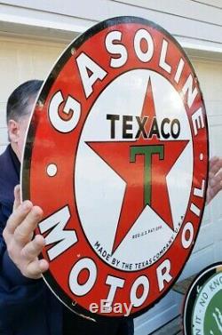 Vintage Grand Texaco 26 Double Sided Porcelaine Connectez-vous Daté 3-31