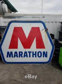 Vintage Grande Porcelaine Double Sided Station Marathon Oil Gas Publicité Connexion