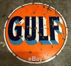Vintage Gulf 42 Pancarte De Métal Antique Double Face Garage Cave Man Porcelaine
