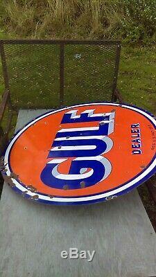 Vintage Gulf Dealer Signe & Pole. Porcelaine Double Face. Station-essence. Original