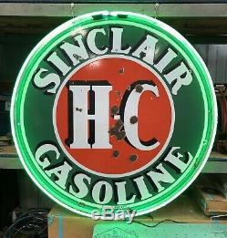 Vintage H-c Sinclair Gasoline Double Face 48 En Porcelaine No Reserve