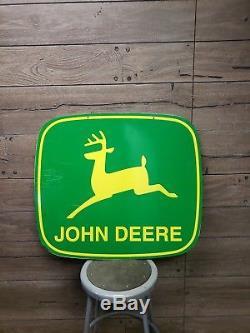 Vintage John Deere Dealership Sign 2 Logo Décalé Ferme À Double Face Ferme Tracteur Gaz