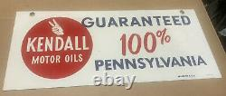 Vintage Kendall Motor Oils Double Sided Metal Gas Station Signe Publicitaire