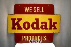 Vintage Kodak Panneau De Signalisation Porcelaine Enamel Double Côté Caméra Film Publicité
