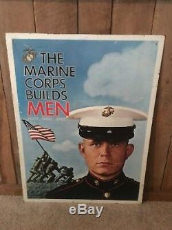 Vintage Les Marines Corp Builds Hommes 1967 Recrutement Signe Semper Fi Double Face