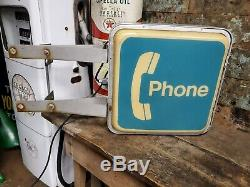 Vintage Lighted Payphone Booth Signe Double Face Garage Cave Man