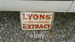 Vintage Lyons Cofee Extract Enamel Sign (original)18 X 12 Inch/double Sided