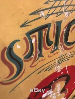 Vintage Main Originale Peinte Signe Fairground Funfair Cirque Double Face