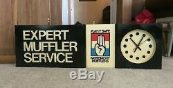 Vintage Maremont Horloge Mufflers Lighted Double Signe Sided Silencieux Huile Légère De Gaz