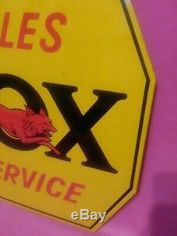 Vintage Métal Double Face Signe Fox River Harvester Tractor Co Sales Service