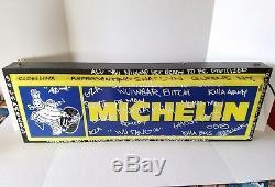 Vintage Michelin Man Pneus Double Face 36 Panneau En Métal Lumineux Travaille