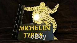 Vintage Michelin Man Porcelain Gas Auto Service Bibendum Panneau Double Face