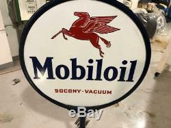 Vintage Mobil Oil Pegasus Porcelain Double Face Sign Lollipop