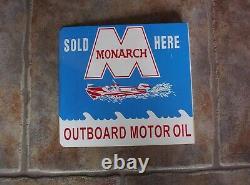 Vintage Monarch Outboard Motor Oil Vendu ICI Métal Flange Signe Double Sided Boat