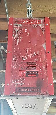 Vintage Neon Double Face Porcelein Budwesier 48 X 18 Inscription Bar Arizona