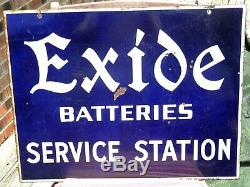 Vintage Orig. Exide Batteries Sevice Station Double Face Porcelain Signe 26x20