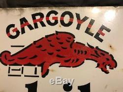 Vintage Orig. Plaque Signalétique À Rebord En Porcelaine Pour Deux Gargouilles Mobiloil 25,75 X 15,5