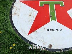 Vintage Original 1937 Texaco Porcelaine Double Face Signe 6 'gas Gas Old Station