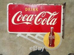Vintage / Original 1948 Boisson Coca-cola Double Face Bride Signer Avec Bouteille Logos