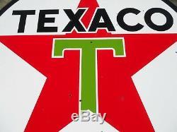 Vintage / Original 1959 Texaco Signe Double Face Essence / Huile En Porcelaine De 6 Pieds De Diamètre