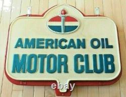 Vintage Original American Oil Motor Club Panneau De Suspension Emboîté À Double Face