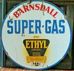 Vintage Original Barnsdall Super-gas Ethyl Burst Porcelaine Double-sided