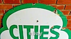 Vintage Original Cities Service Dual-sided 47 Porcelaine Signe Bon État