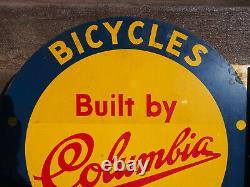Vintage Original Columbia Bicycle Double Côté Bretelle En Métal Panneau En Émail