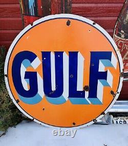 Vintage Original Des Années 1940 Gulf Double Sided Porcelain Sign 42 Gas Station Huile