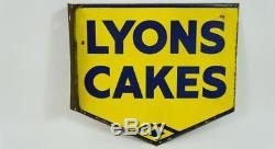 Vintage Original, Enseigne Murale Double Face De Lyons Cakes 18x16 (45cm X 40cm)