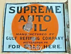 Vintage Original Gulf Oil Supreme Auto Oil Double Sided Porcelaine Flange Signe