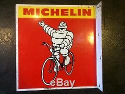 Vintage Original Michelin Signe Bike Shop Publicité Bilaterale