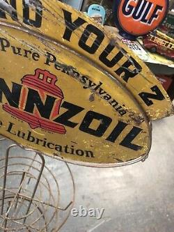 Vintage Original Pennzoil Huile Affichage Double Face Rack Peut Connexion Gaz Garage Voiture